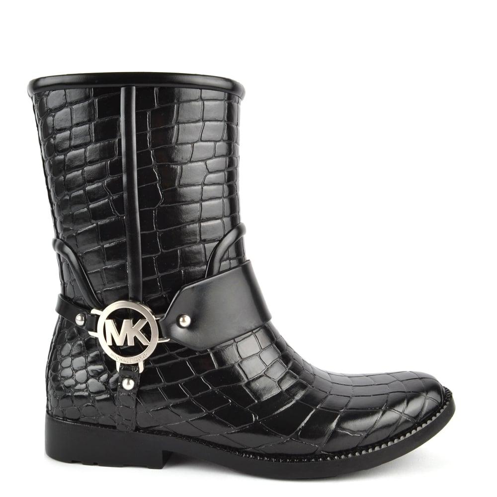 Black Croco Rubber Rain Boot