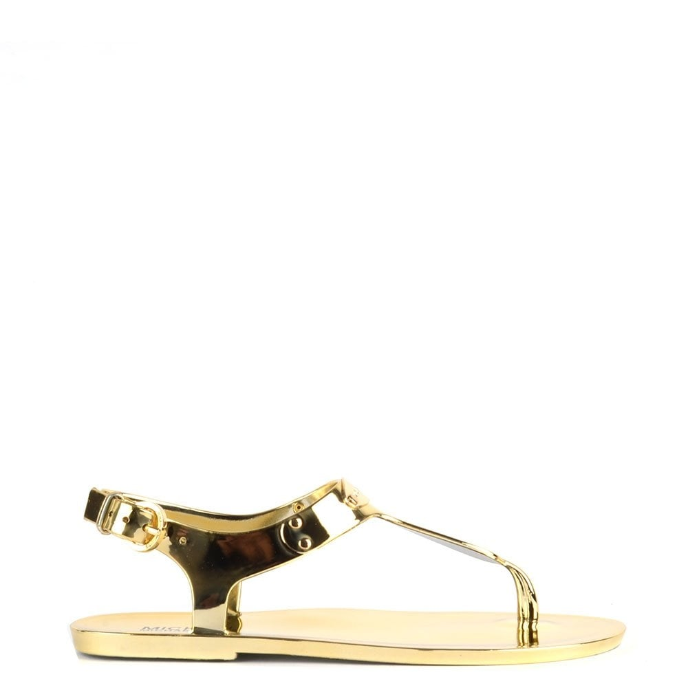 a73b1a142f09 MICHAEL by Michael Kors MK Gold Logo Plate Jelly Sandal - Women from ...
