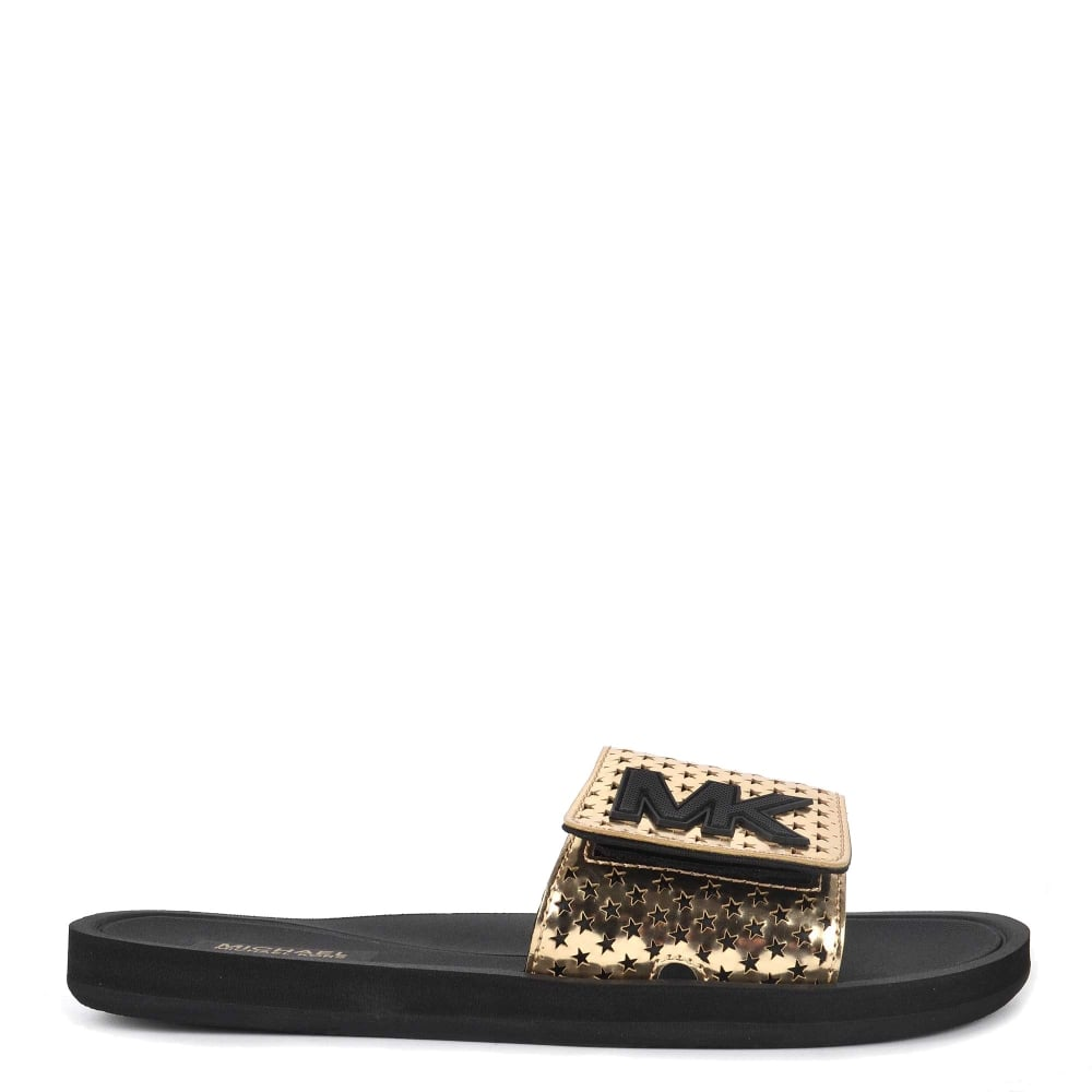 michael michael kors mk gold metallic star cut out slide
