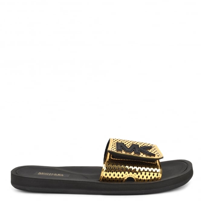 MICHAEL by Michael Kors MK Metallic Gold Perforated Slider