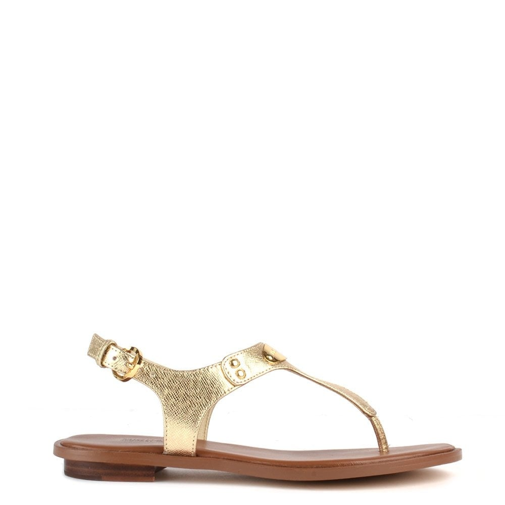 7f03049e71625e MICHAEL by Michael Kors MK Plate Pale Gold Thong Sandal - Women from ...