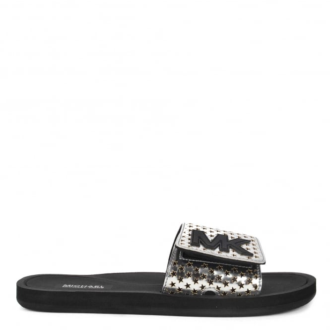 MICHAEL by Michael Kors MK Silver Metallic Star Cut Out Slide