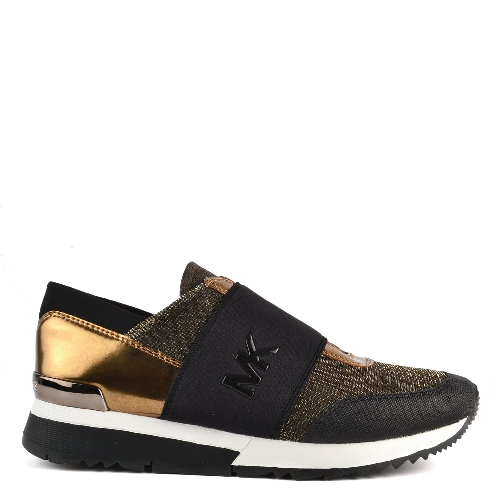 7a63b2eae559 MICHAEL by Michael Kors MK Trainer Bronze and Black Trainer