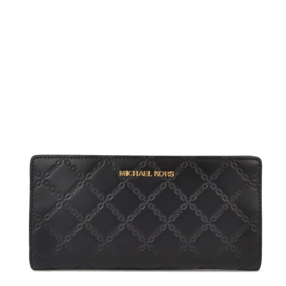62da99f05387 MICHAEL by Michael Kors Money Pieces Black Chain-Embossed Leather Slim  Wallet