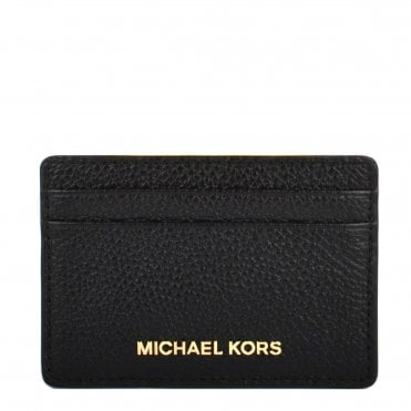 Money Pieces Black Grained Leather Card Holder