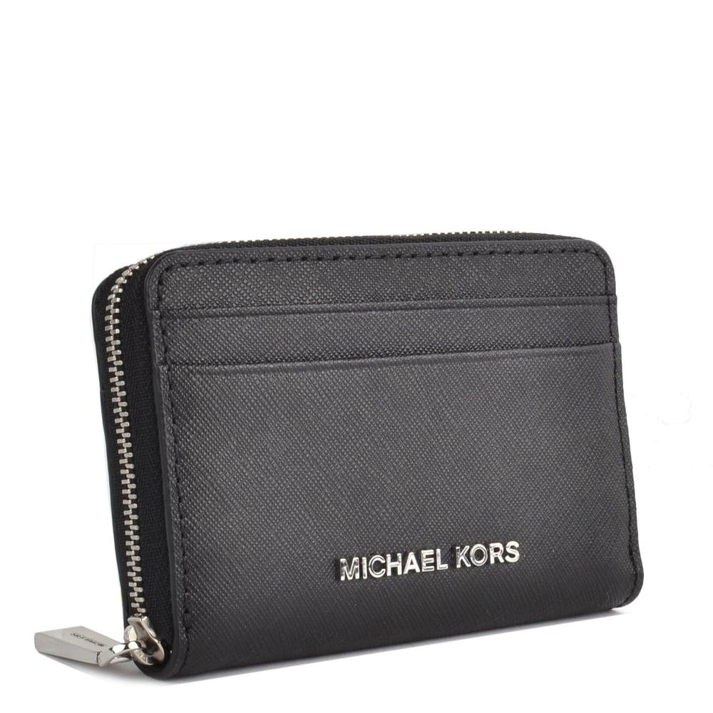 51c8aab140eeac MICHAEL MICHAEL KORS Jet Set Black Zip Around Card Case