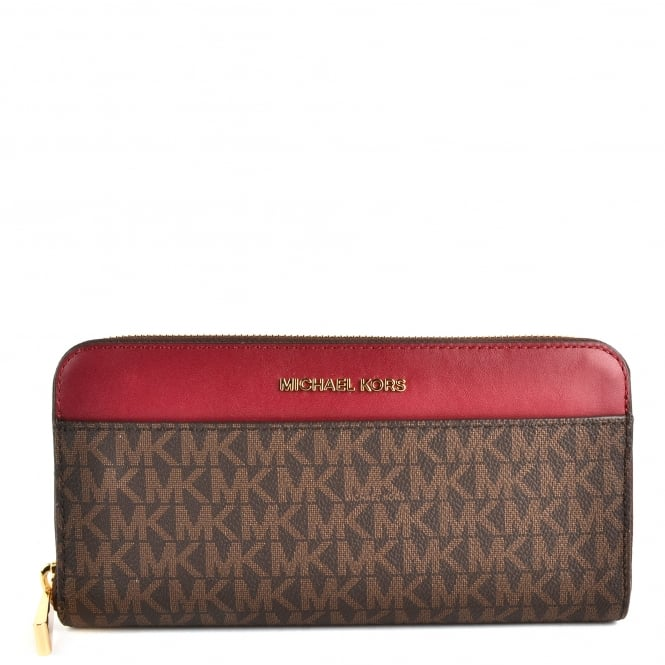 MICHAEL by Michael Kors Money Pieces Brown and Mulberry Pocket Continental Wallet