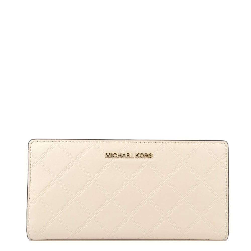 c5bdfc88fb8c MICHAEL by Michael Kors Money Pieces Cream Chain-Embossed Leather Slim  Wallet