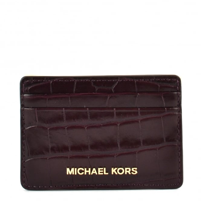 MICHAEL by Michael Kors Money Pieces Damson 'Plum' Crocodile Effect Leather Card Holder