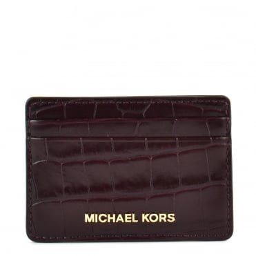 Money Pieces Damson 'Plum' Crocodile Effect Leather Card Holder
