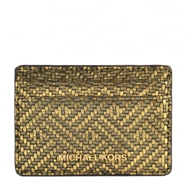 Money Pieces Metallic Gold Card Leather Holder