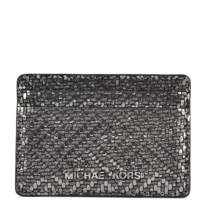 MICHAEL by Michael Kors Money Pieces Metallic Silver Leather Card Holder