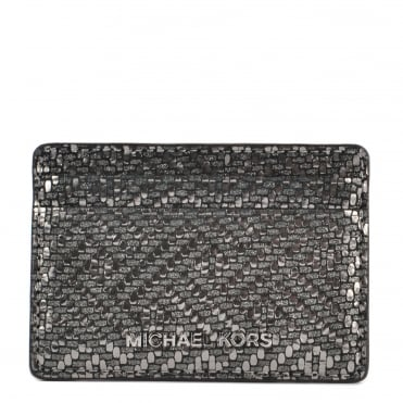 Money Pieces Metallic Silver Leather Card Holder