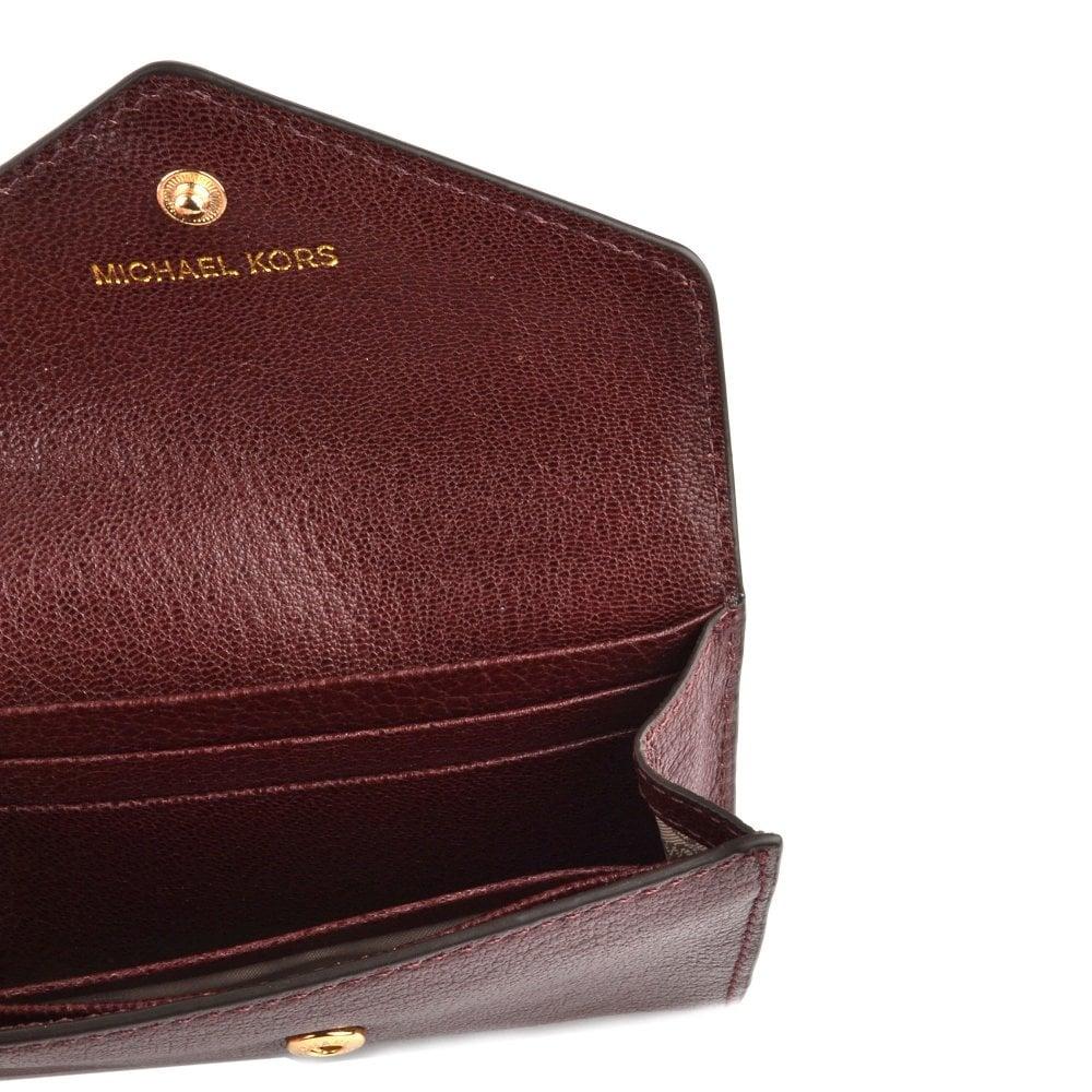 6a31fcf87908 MICHAEL Michael Kors Money Pieces Oxblood Carryall Envelope Chain Wallet