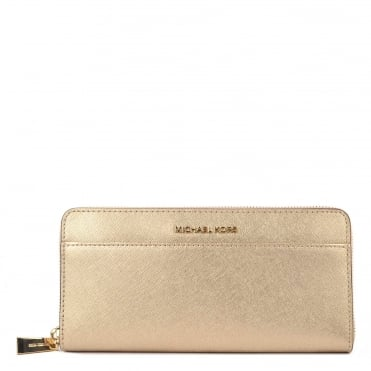 Money Pieces Pale Gold Saffiano Pocket Continental Wallet