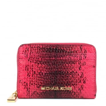 Money Pieces Ultra Pink Embossed Python Zip Around Card Case