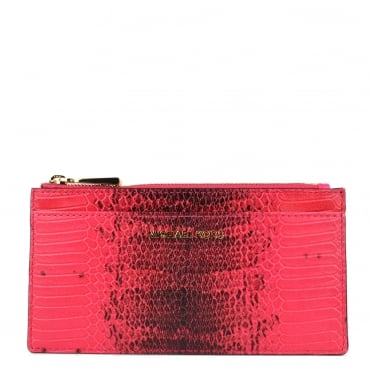 Money Pieces Ultra Pink Python Embossed Slim Card Case