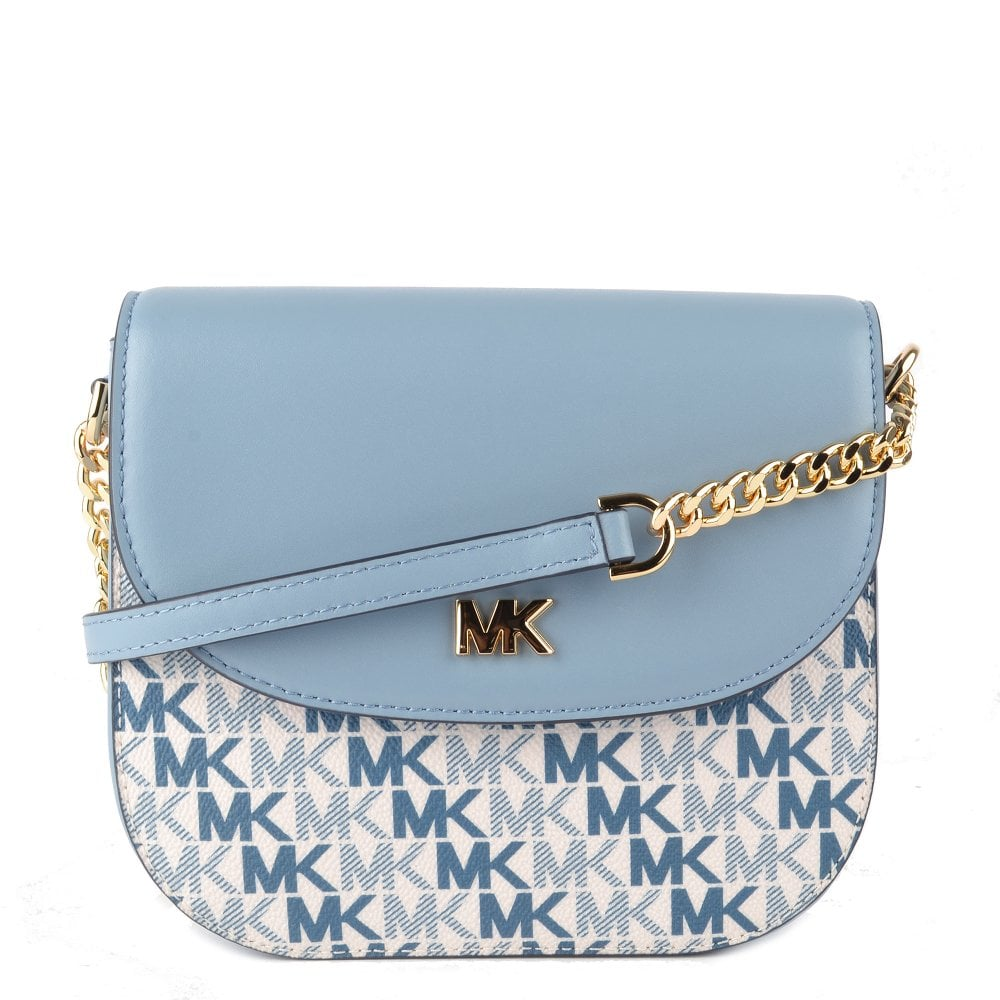 e5349dea3eba6a MICHAEL by Michael Kors Mott Blue Leather Logo Half Dome Crossbody