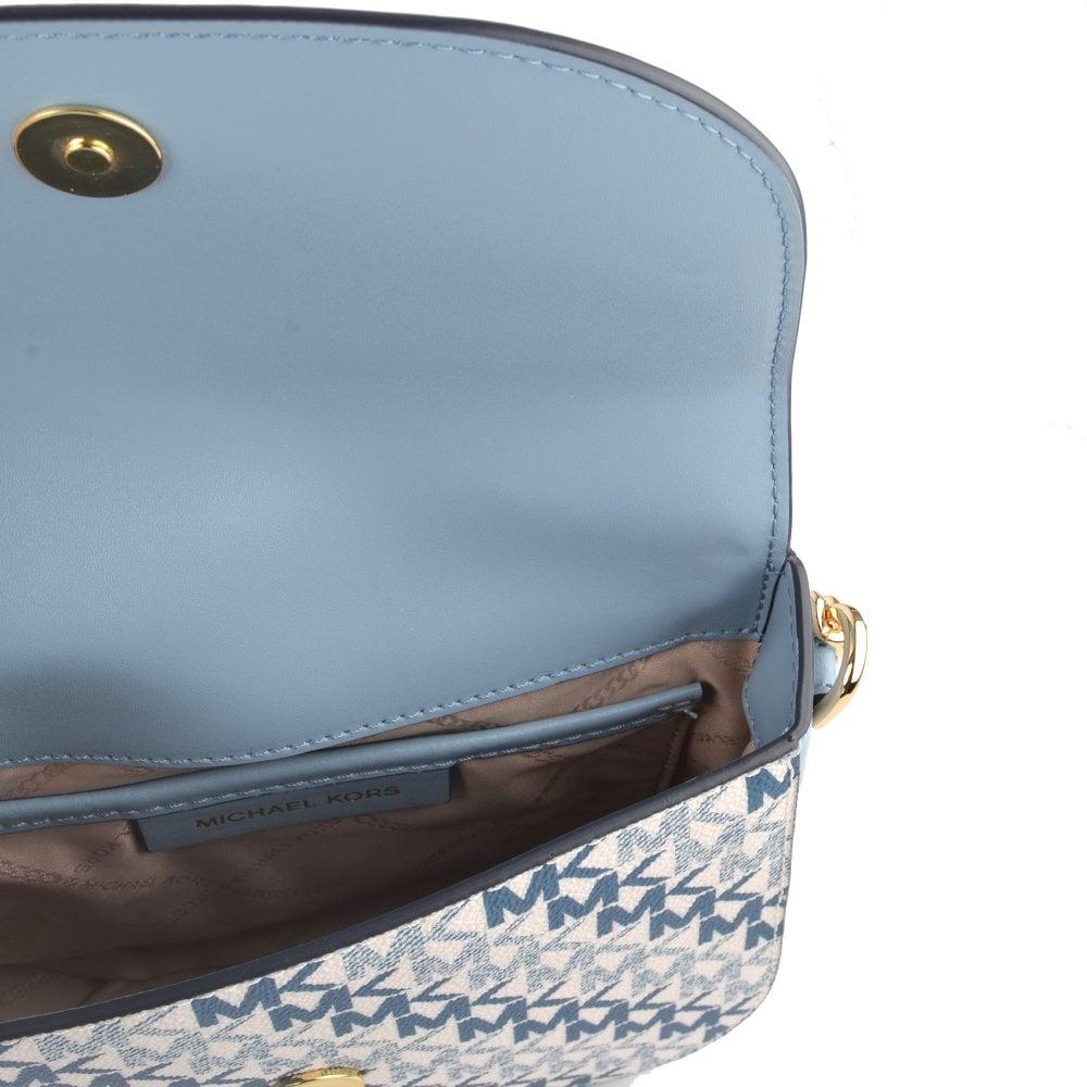 ab60429ffa02d7 MICHAEL MICHAEL KORS Mott Blue Leather Logo Half Dome Crossbody