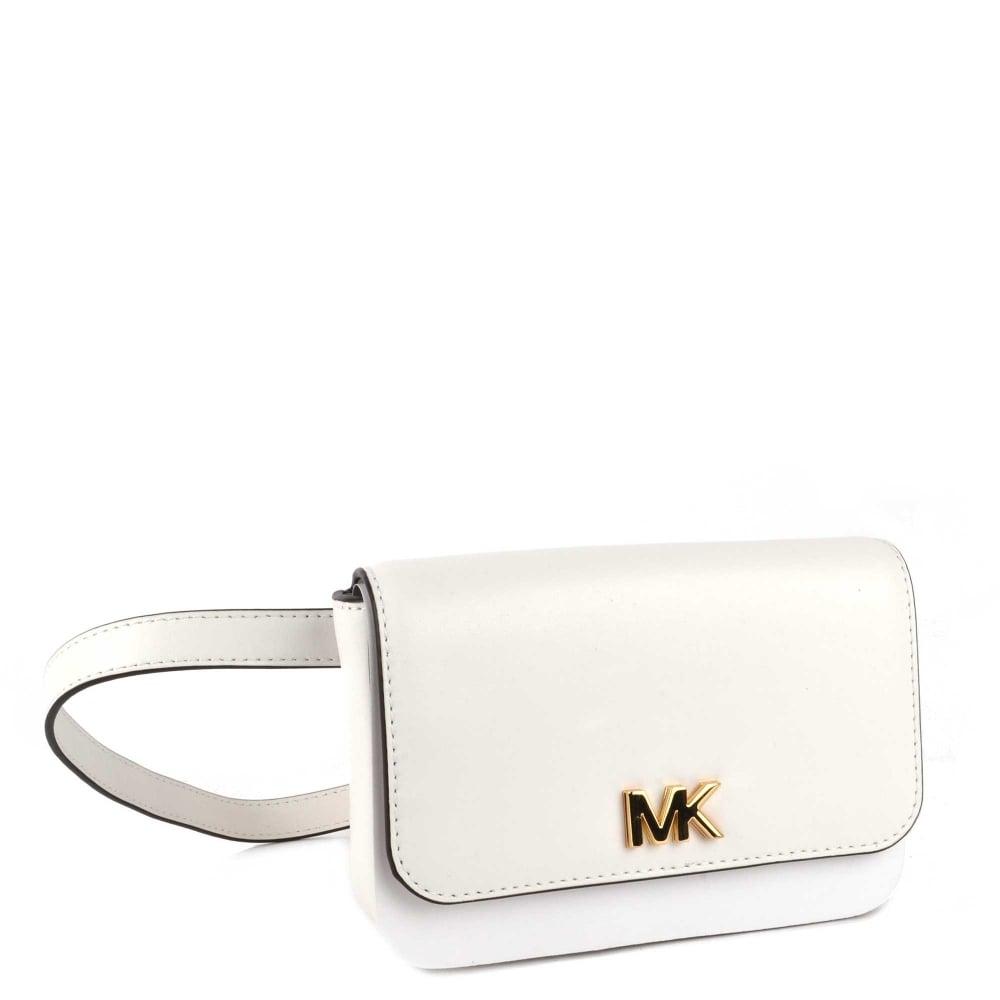 2874c187ef5b MICHAEL by Michael Kors Mott Optic White Leather Belt Bag