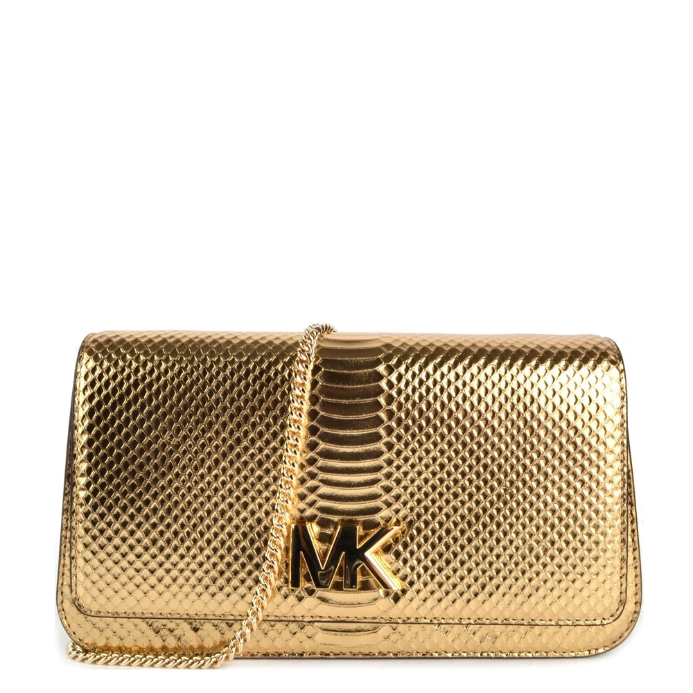 95d05dbd2dfe MICHAEL by Michael Kors Mott Pale Gold Python Effect Large Clutch Bag