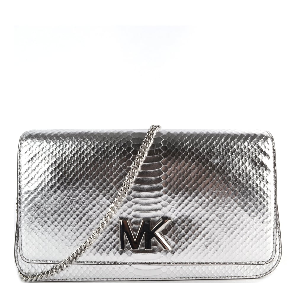 9c6683246284 MICHAEL by Michael Kors Mott Silver Python Effect Large Clutch Bag