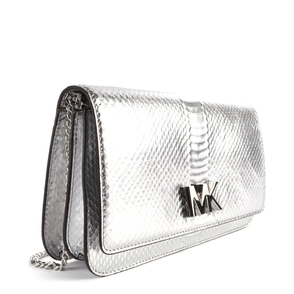 b4003ea3ce36 MICHAEL MICHAEL KORS Mott Silver Python Effect Large Clutch Bag