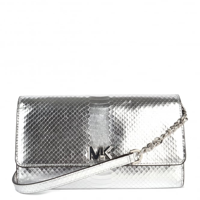 MICHAEL by Michael Kors Mott Silver Python Effect Wallet Clutch