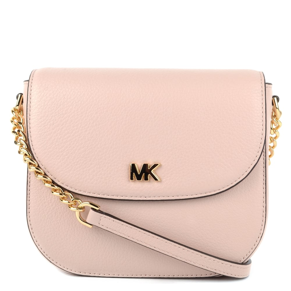 886de0e9a572 Michael Kors Mott Soft Pink Leather Dome Crossbody. Mk Pink Handbag