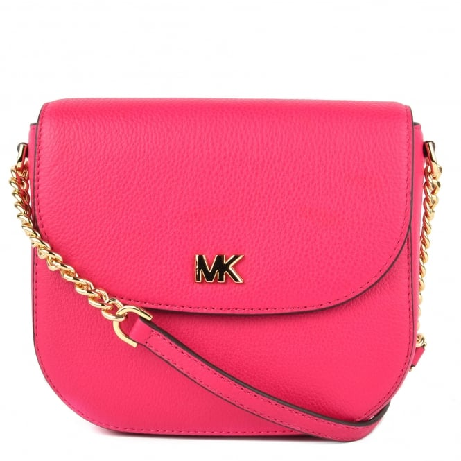 MICHAEL by Michael Kors Mott Ultra Pink Leather Dome Crossbody