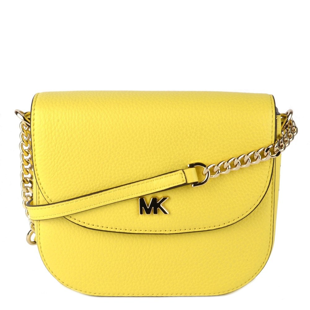 78c4a13f39f592 MICHAEL by Michael Kors Mott Yellow Leather Half Dome Crossbody