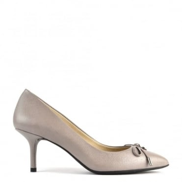 Nancy Grey Leather Mid Pump