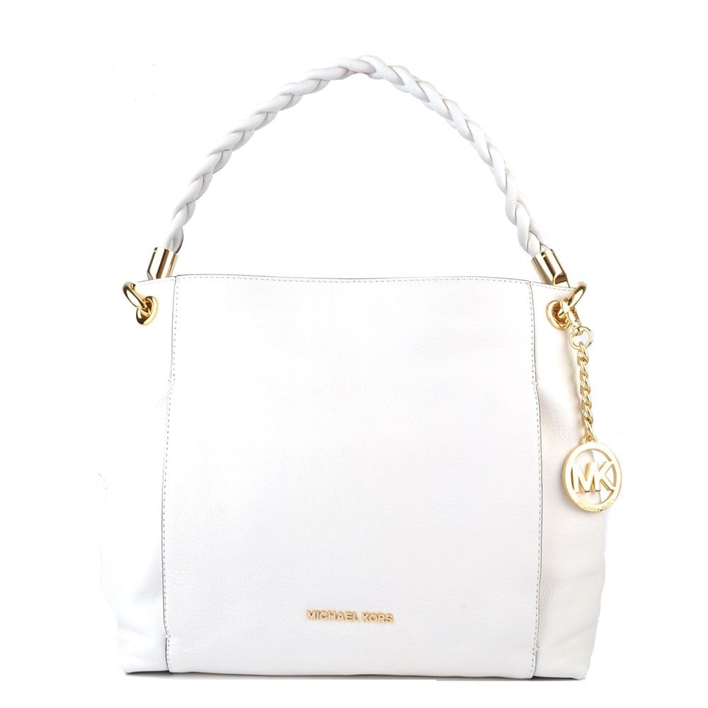MICHAEL by Michael Kors Naomi White Leather Large Shoulder Bag ... 48eefccb15c99