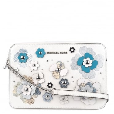Optic White Floral Applique Large East West Crossbody