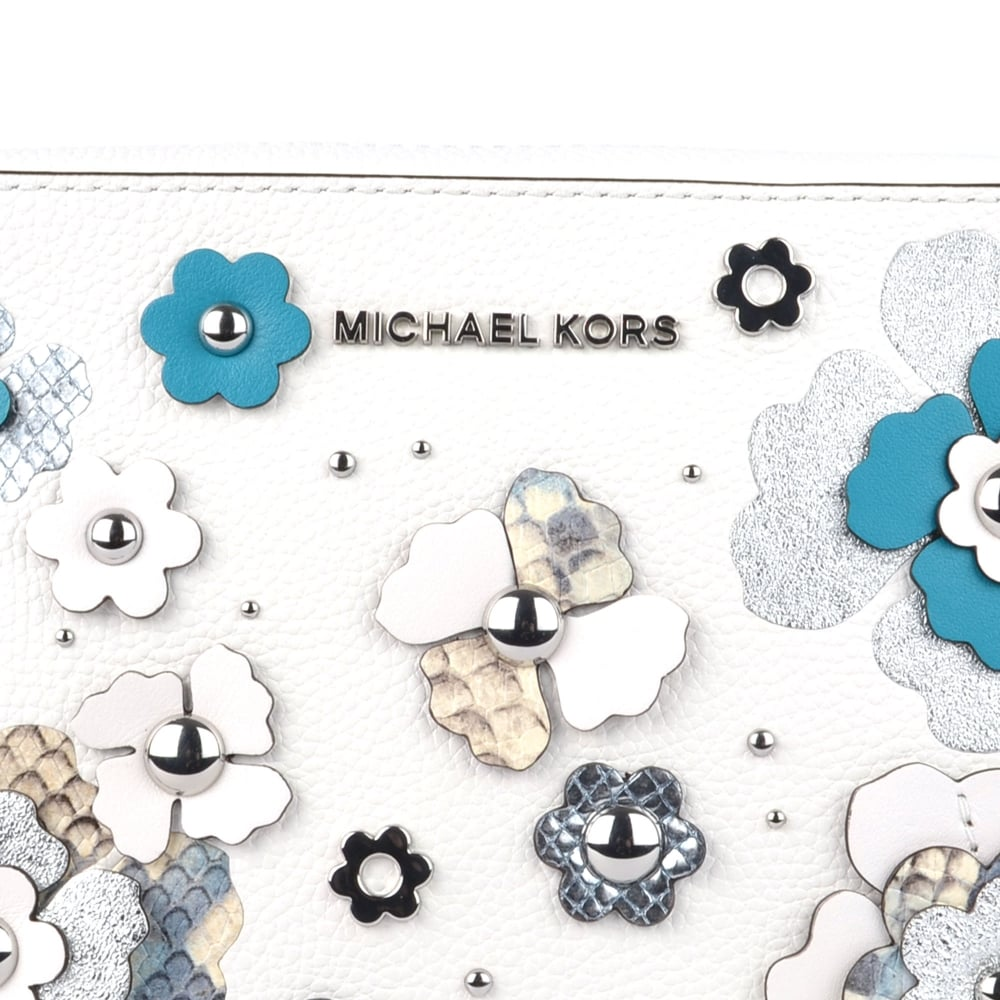 14eba624b48e MICHAEL Michael Kors Optic White Floral Applique Large East West ...