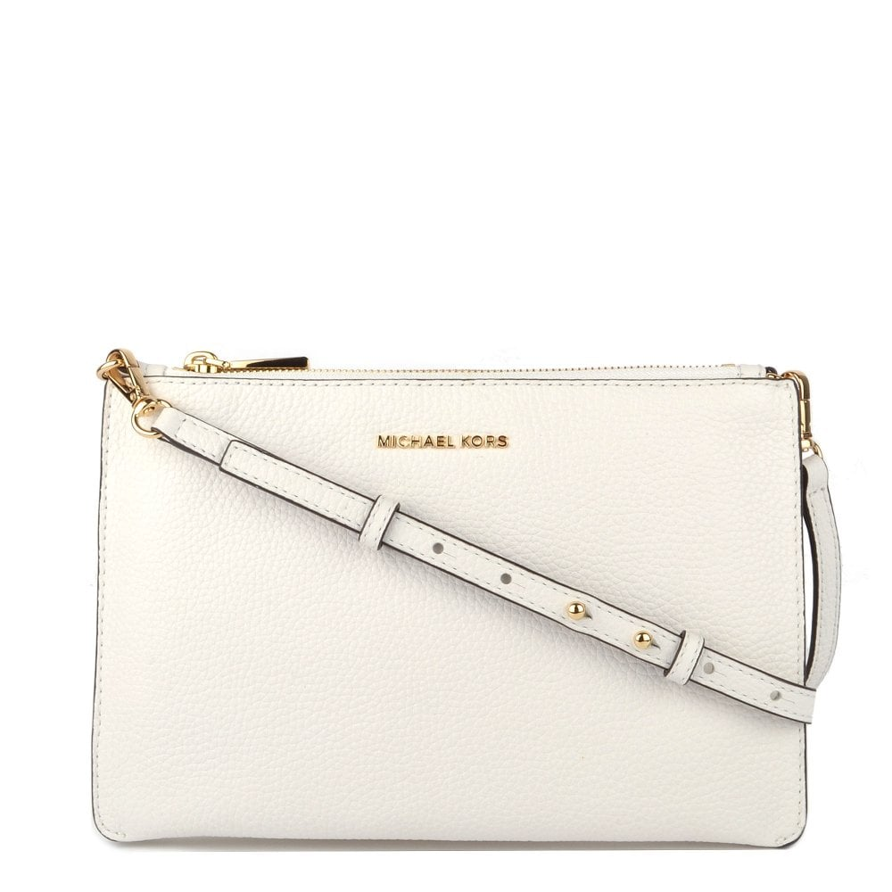 67e0d37dd1c0 MICHAEL by Michael Kors Optic White Leather Large Clutch Crossbody