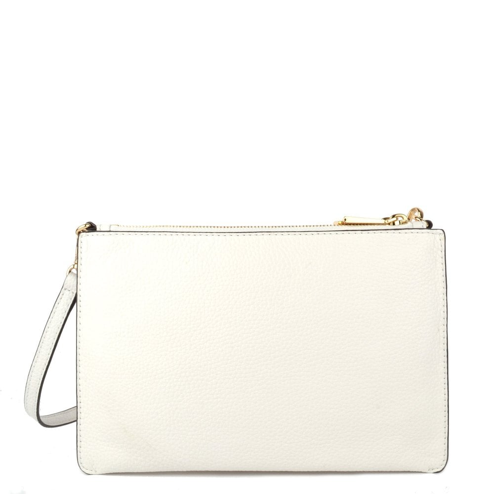 14e7ce9019a3 MICHAEL MICHAEL KORS Optic White Leather Large Clutch Crossbody