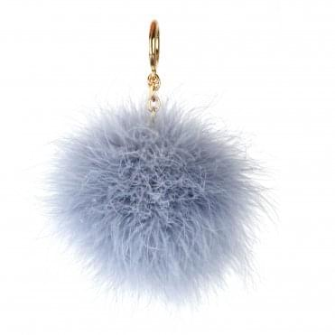 Pale Blue Large Round Feather Pom Pom Keyring Charm
