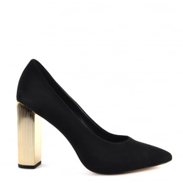 Paloma Black Suede Heeled Pump