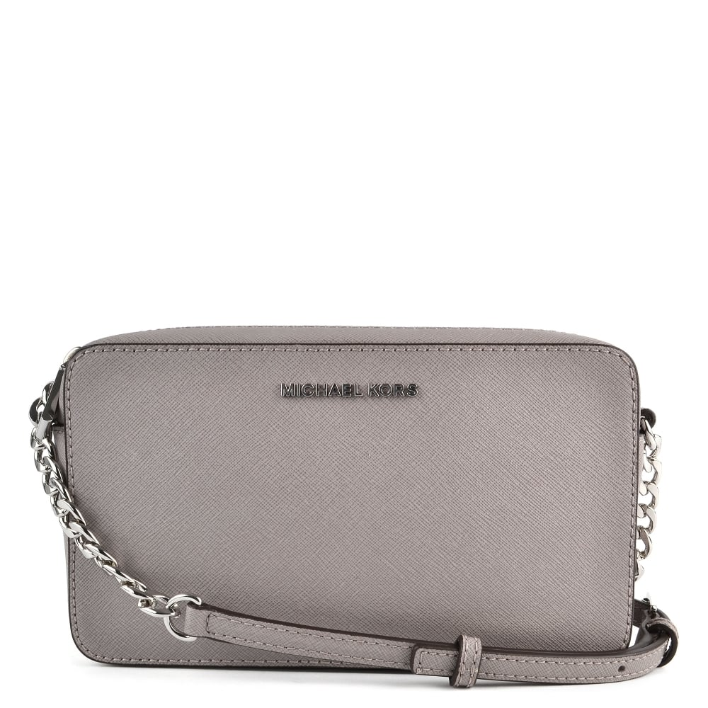 5359edc175cf MICHAEL by Michael Kors Pearl Grey Leather Medium Crossbody Bag