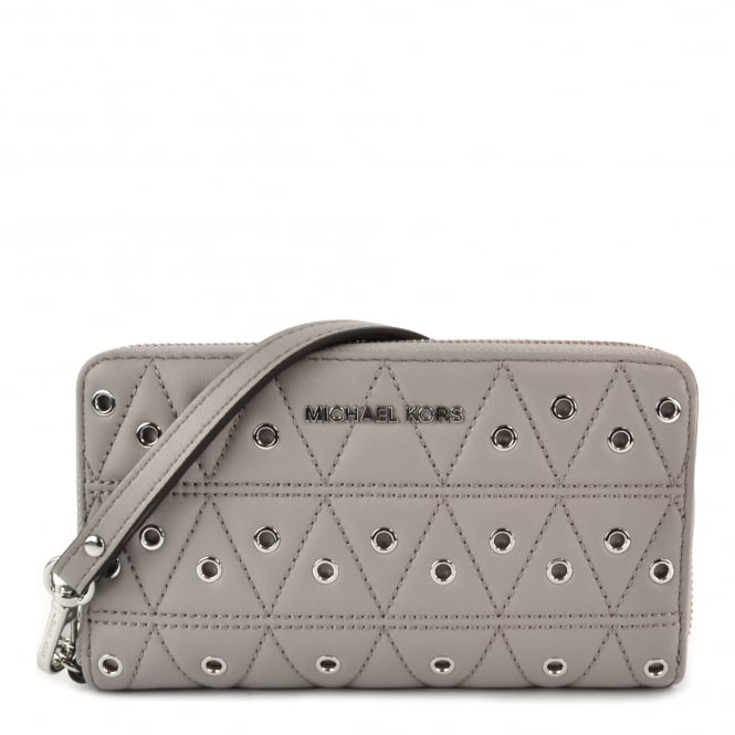 MICHAEL by Michael Kors Pearl Grey Quilted Eyelet Phone Case Wristlet