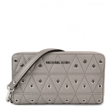 Pearl Grey Quilted Eyelet Phone Case Wristlet