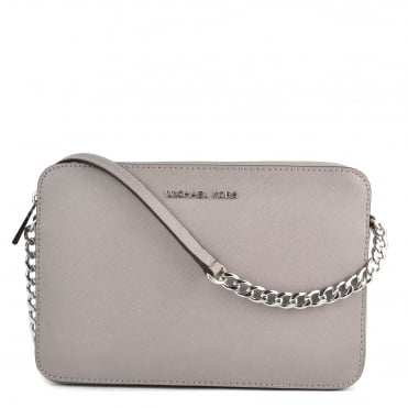 Pearl Grey Saffiano Leather Large Crossbody