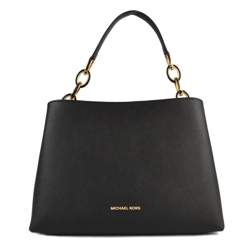 7e9cfb56cf117a MICHAEL by Michael Kors Portia Black Large Leather Shoulder Bag