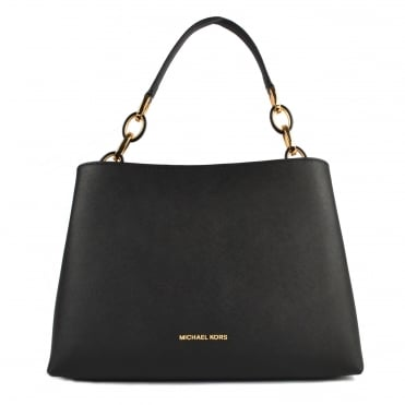 Portia Black Large Leather Shoulder Bag