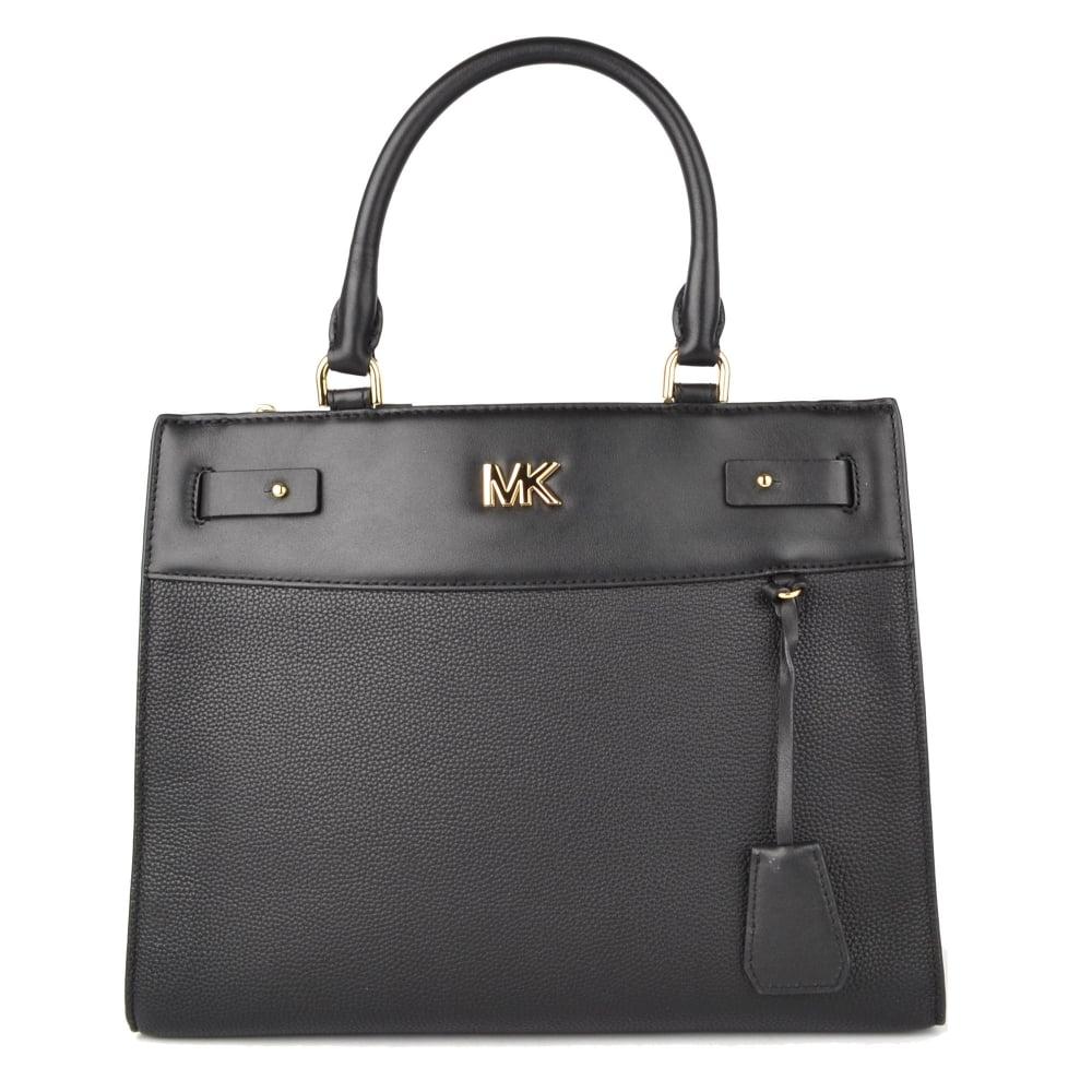 61628c09b2f8 MICHAEL by Michael Kors Reagan Black Leather Large Satchel