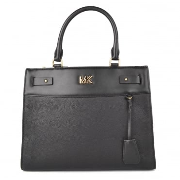 Reagan Black Leather Large Satchel