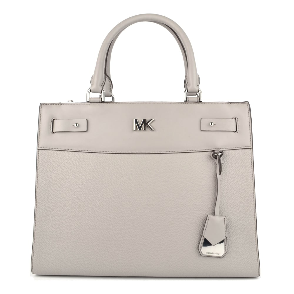 555417363fa2 MICHAEL by Michael Kors Reagan Pearl Grey Leather Large Satchel