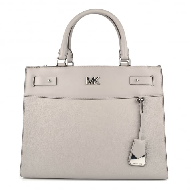 MICHAEL by Michael Kors Reagan Pearl Grey Leather Large Satchel