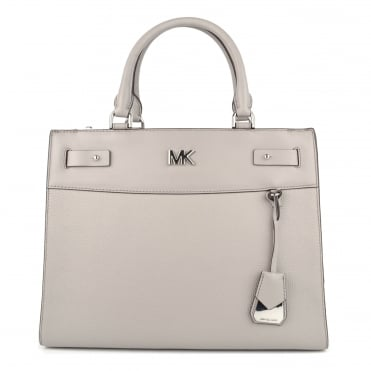 Reagan Pearl Grey Leather Large Satchel